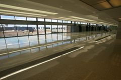 Dulles International Airport. Concourse at Dulles International Airport designed by Eero Saarinen outside Washington DC Chantily Virginia Stock Photo