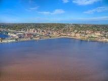 Duluth är en populär turist- destination i övreMidwesten på arkivbild