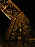 Duluth Aerial Lift Bridge. The historic Aerial Lift Bridge is seen illuminated at night in Canal Park, Duluth, Minnesota stock photography