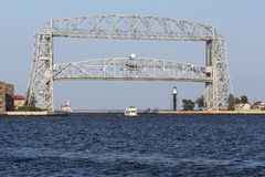 Duluth Aerial Lift Bridge. A lift bridge at the entrance of Duluth harbor Royalty Free Stock Images