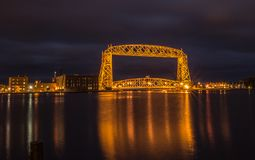 Duluth Aerial Lift Bridge at Night Royalty Free Stock Photography
