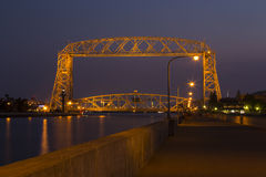 Duluth Aerial Lift Bridge Night Stock Photo
