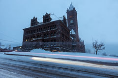 Duluth architecture during snow storm Royalty Free Stock Images