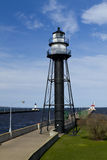 Duluth Canal Lighthouses. The lighthouses at the Duluth MN harbor entrance Stock Images