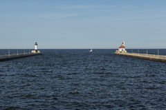 Duluth Canal Lighthouses Royalty Free Stock Photography