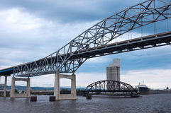 Duluth Harbor Bridges on Lake Superior. High bridge and old interstate bridge spanning Lake Superior in Duluth Minnesota Stock Photos
