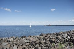 Duluth Harbor North Breakwater Lighthouse. On Lake Superior in Minnesota Royalty Free Stock Images