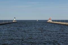 Duluth kanału latarnie morskie Fotografia Royalty Free