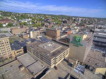 Downtown Duluth and Lake Superior. Duluth and Lake Superior in Summer seen from Above by Drone Stock Photography