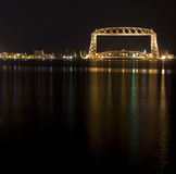 Duluth Lift Bridge at Night. Duluth, MN Lift Bridge at Night Stock Image