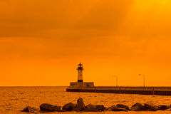 Duluth Lighthouse Morning Stock Image