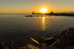 Duluth Lighthouses Sunrise Stock Photos