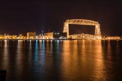 Duluth linia horyzontu przy nocą Obrazy Royalty Free