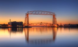 Duluth Minnesota Lift Bridge Dawn. With reflection Stock Photo