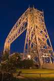 Duluth Minnesota Lift Bridge at Night. Vertical photograph of the Duluth, Minnesota lift bridge lit up at night Royalty Free Stock Photo