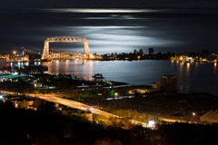 Duluth Minnesota Night Time. Duluth Minnesota Aerial Lift Bridge and Canal Park at Night on the Shore of Lake Superior Stock Images