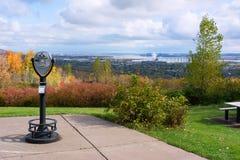 Duluth Minnesota. Scenic Overlook of Duluth Minnesota on Lake Superior Stock Photo