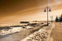Duluth Minnesota strand som frysas i vinter i infrared Arkivfoton