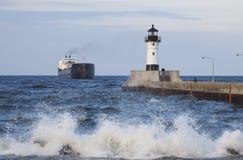 Duluth N Pier Lighthouse & Ship Stock Photos