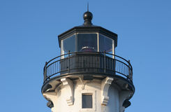 Duluth Pier Lighthouse. North Pier Lighthouse in Duluth at Canal Park stock photo