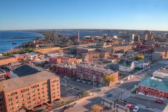 Duluth is a popular Tourist Destination in the Upper Midwest on. The Shores of Lake Superior in Far North Minnesota stock images