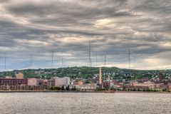 Duluth is a popular Tourist Destination in the Upper Midwest on. The Minnesota Shores of Lake Superior Royalty Free Stock Photos