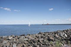 Duluth schronienia falochronu Północna latarnia morska Obrazy Royalty Free