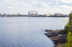 Duluth Skyline with the Aerial Lift Bridge Stock Images
