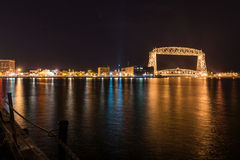 Duluth skyline at night. Skyline of Duluth, Minnesota, at autumn night Royalty Free Stock Image