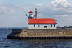 Duluth South Breakwater Outer Light. Duluth, MN/USA - July 15, 2017: The Duluth South Breakwater Outer Light and accompanying structure located at the Duluth Royalty Free Stock Images