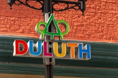 Duluth Street Logo on a lampost stock images