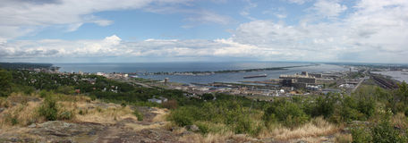 Duluth and Superior Harbor. Panoramic view of Duluth, MN, Superior, WI, and Lake Superior Stock Photography