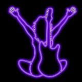 duma muzyczną sylwetki neonową Fotografia Stock