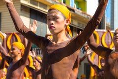 Dumaguete, Filipiny - 16 Wrzesień, 2017: Sandurot festiwalu aktorzy fotografia stock