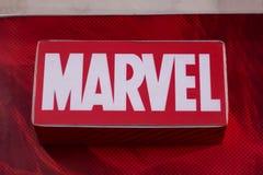 Dumaguete Filippinerna - 08 mars 2018: - Marvel shoppar och märkesetiketten i shoppinggalleria Arkivfoto