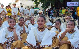Dumaguete, Philippines - 16 September, 2017: Sandurot Festival actors resting before performance. Carnival with dancing in colorful costumes. Beautiful dancers stock images