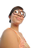 Dumb Asian chinese girl looking happy Royalty Free Stock Image