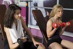 The dumb-bells. Couple of girls doing free exercise with dumb-bells in front of mirror Stock Photo