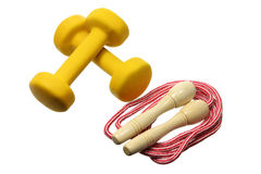 Dumb Bells and Skipping Rope Stock Photography