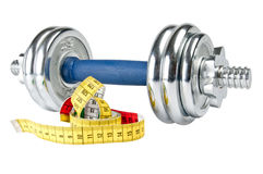 Dumb bells and tape measure Stock Photography