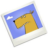 Dumb dog polaroid cartoon character Royalty Free Stock Photo