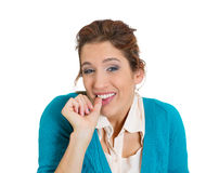 Dumb looking woman Royalty Free Stock Images