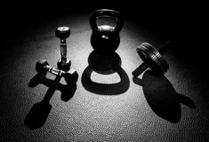 Dumbbel Kettle Bell Ab Wheel Royalty Free Stock Photos