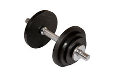 Dumbbell. Single dumbbell isolated on white. Clipping path included Stock Image