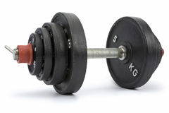 Dumbbell. Hand weight consisted of disc weights isolated on white. Clipping path incl Stock Image
