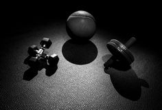 Dumbbell Ab Wheel Medicine Ball Stock Photos