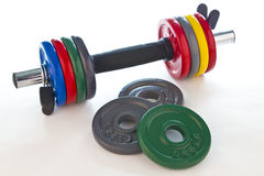 Dumbbell with accessories Stock Photography