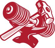 Dumbbell Anvil and Sledgehammer Retro Stock Photo
