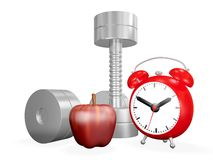 Dumbbell Apple and Alarm Clock Royalty Free Stock Images