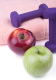 Dumbbell with apples Stock Image